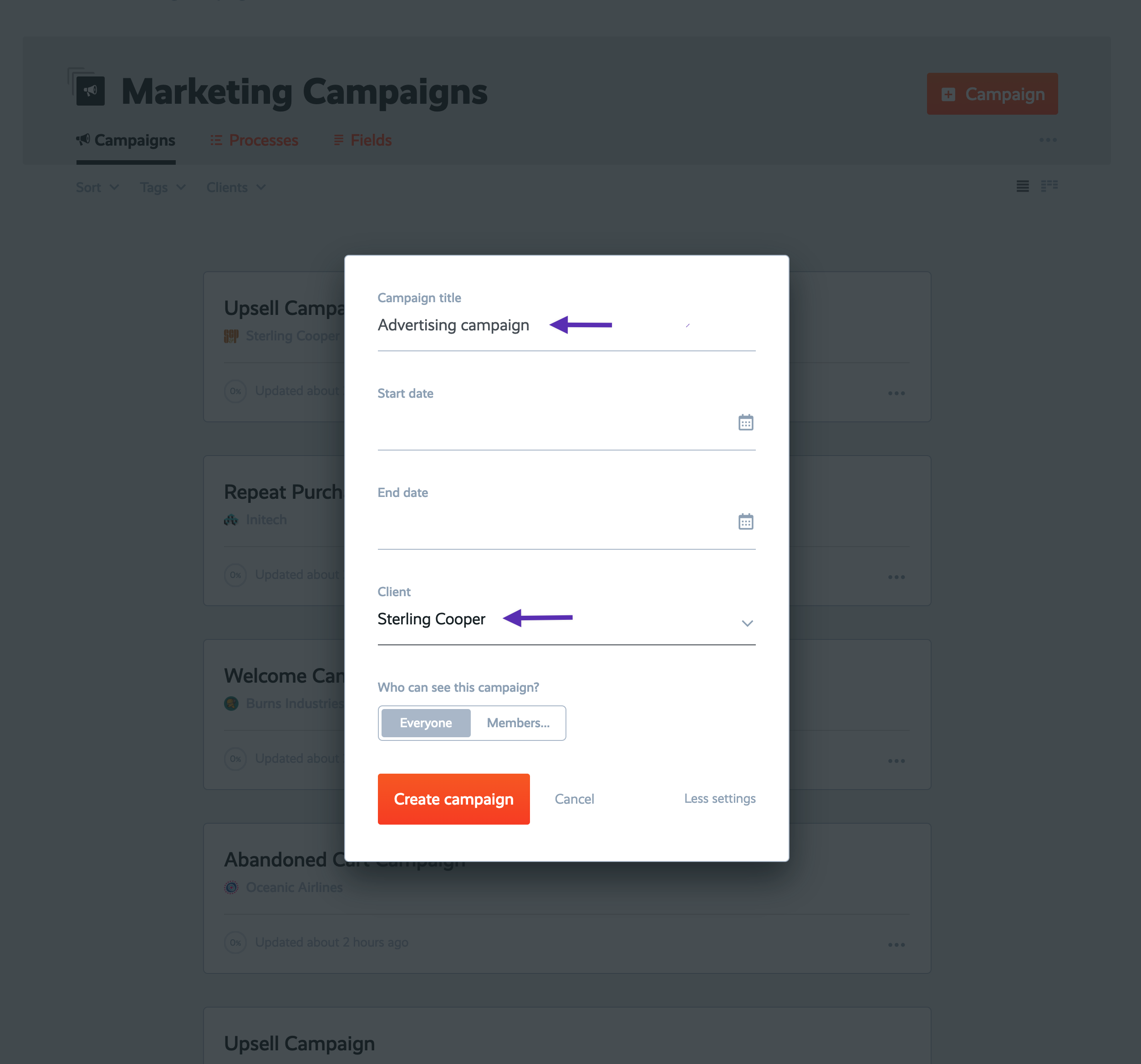create campaign for client-a
