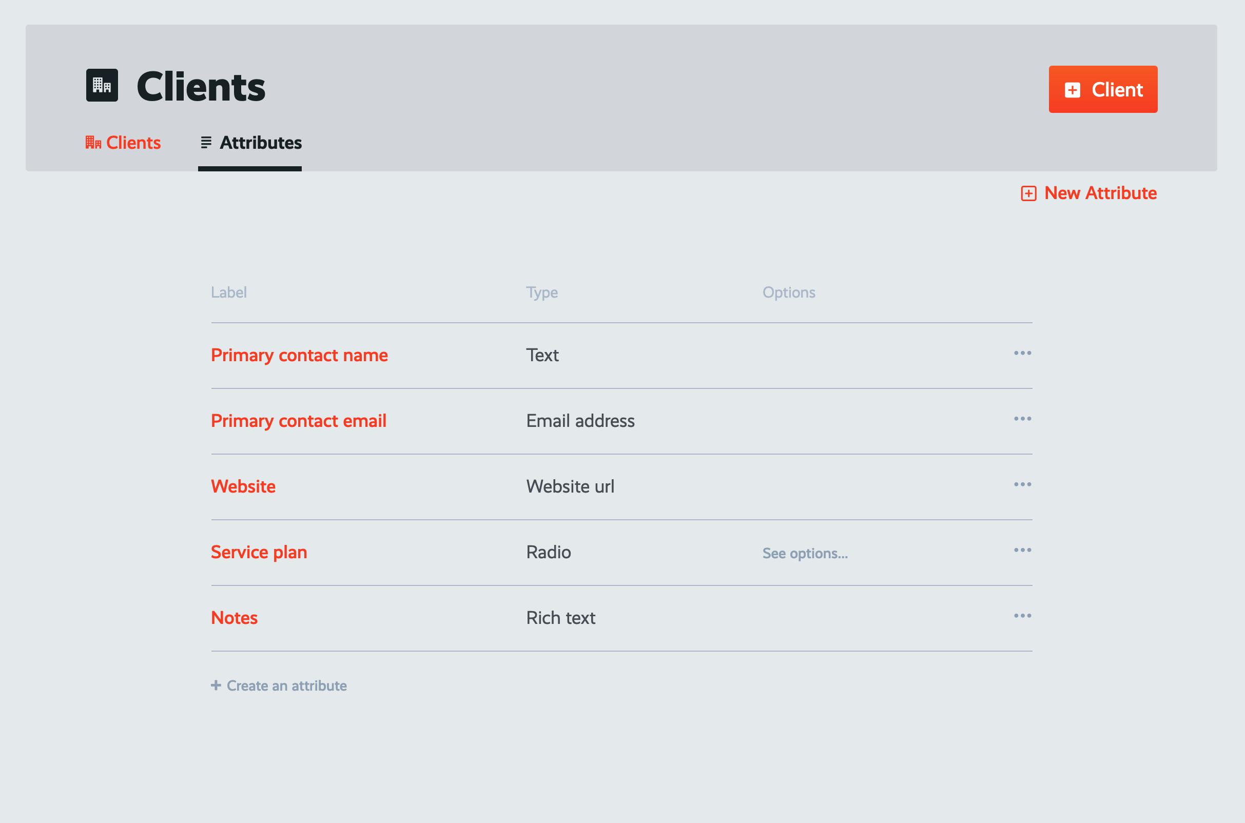 manage client attributes