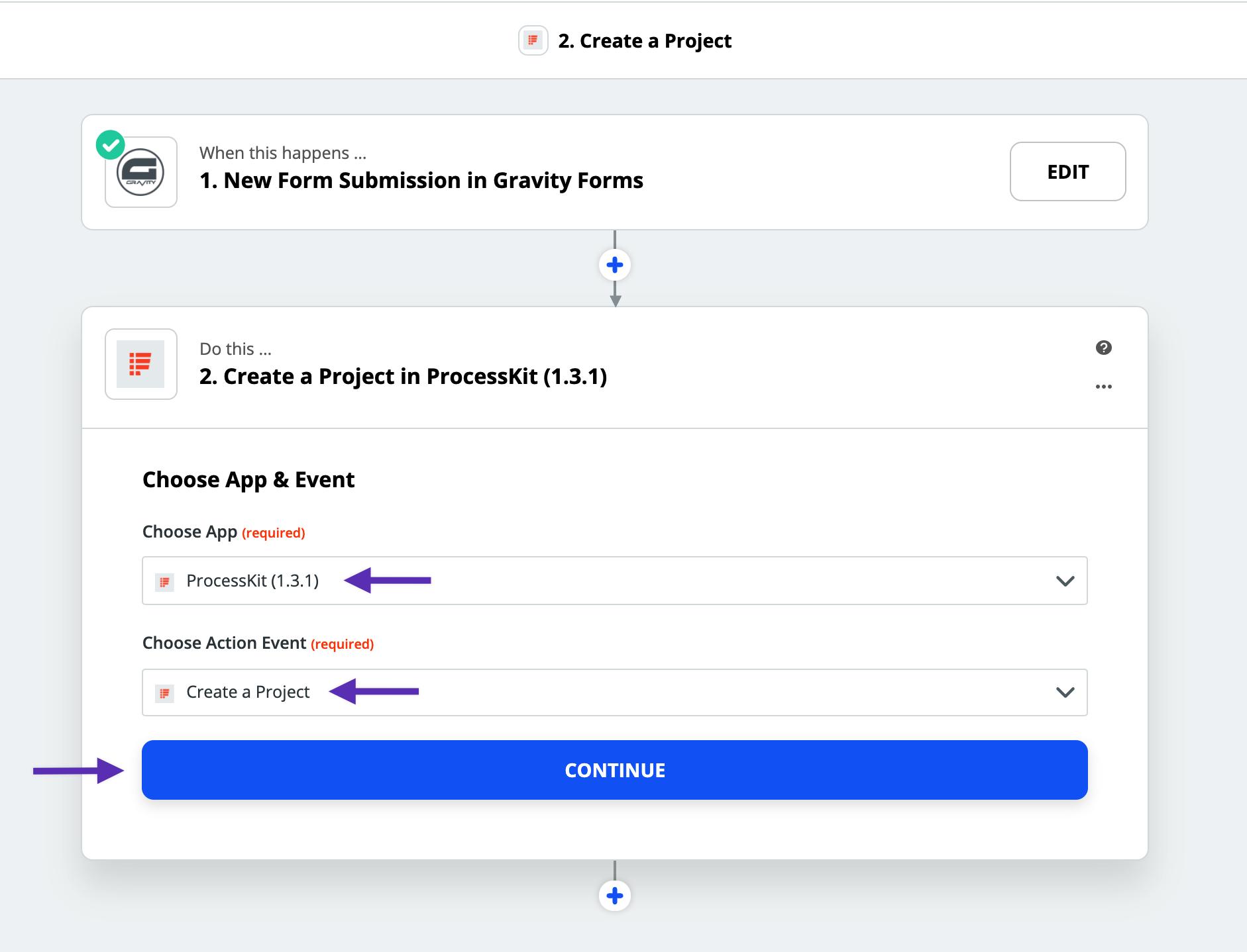 processkit zapier create a project
